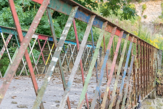 Abandoned bridge fence