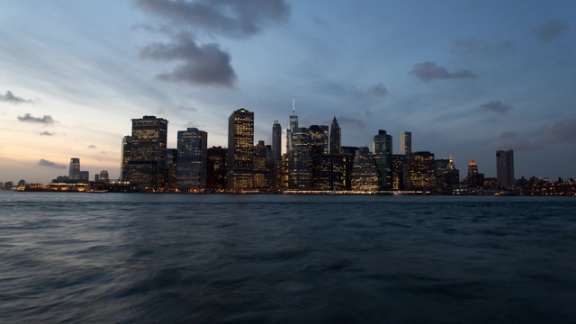 Blue hour over Manhattan time lapse