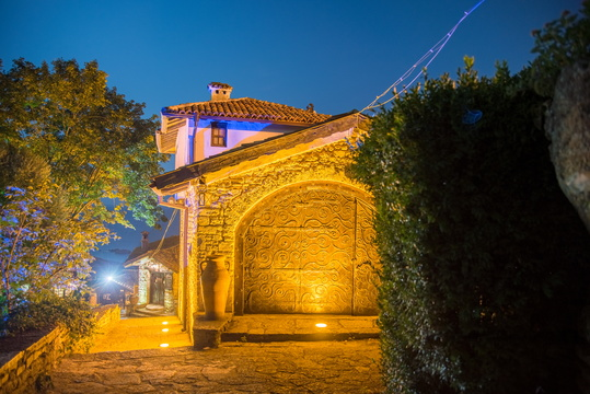 Inside Balchik Palace at night