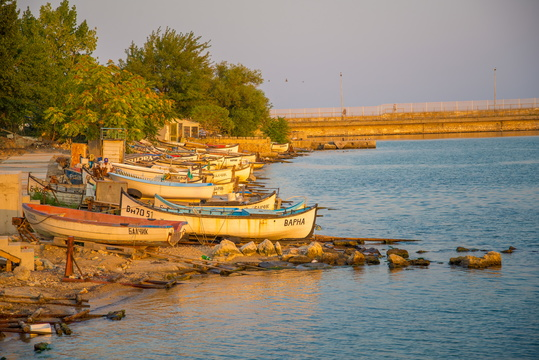 Balchik and Varna boats at golden hour