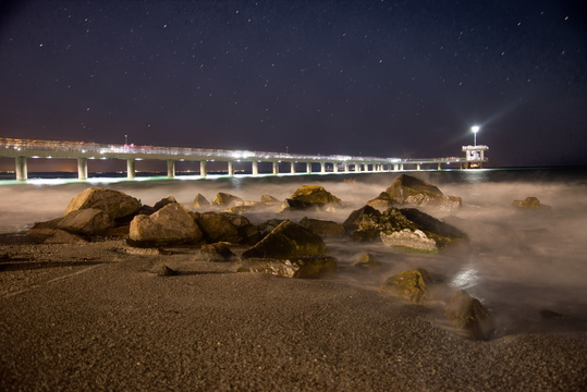 Long night exposure at the beach
