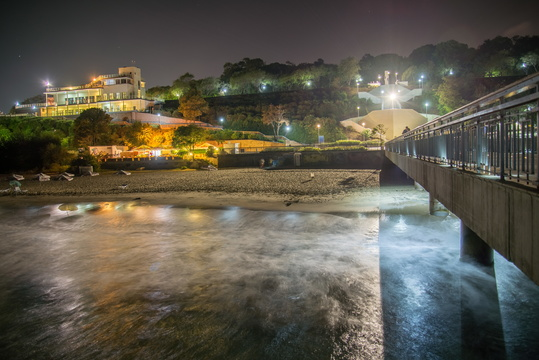 Burgas coastline at night