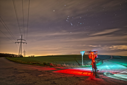 A night landscape around the bike