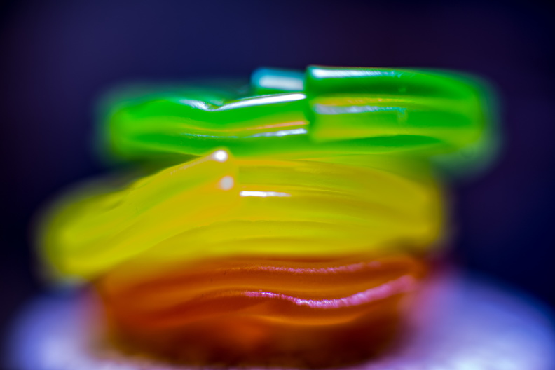 Three candies playing bokeh