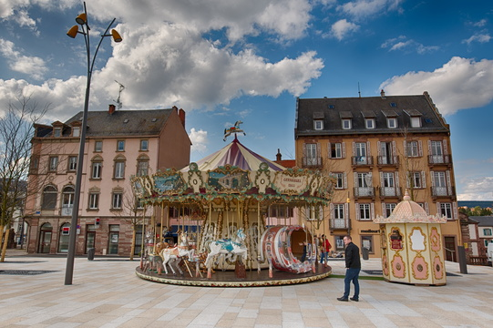 Carousel on main square in Saverne