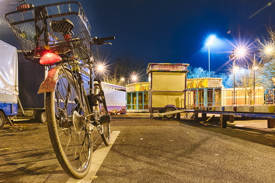 Bike at the empty funfair