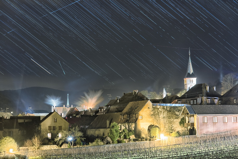 Star trails during Christmas evening