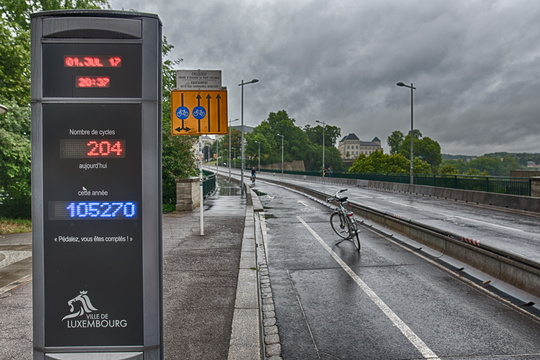 Passerelle bike counter on a rainy day