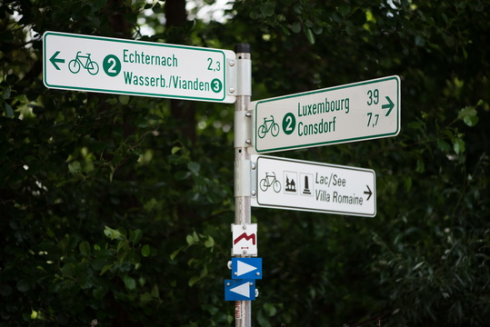 Cycling directions at Echternach lake