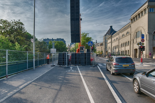 Blocked cycleway in Luxembourg city