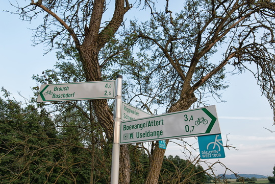 Direction signs showing local and regional Dällchen West Tour c