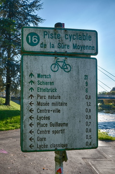 Cycling directions and distances in Diekirch