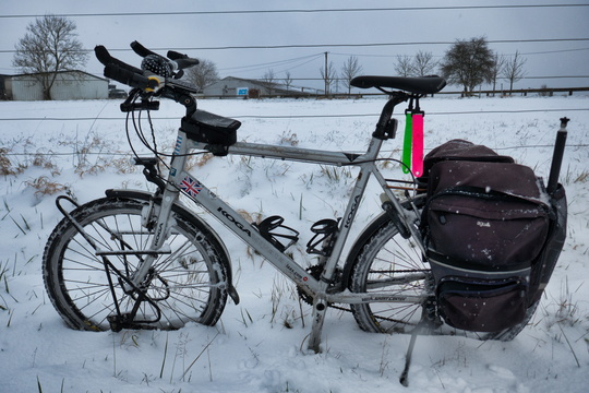 Cycling after snowfall