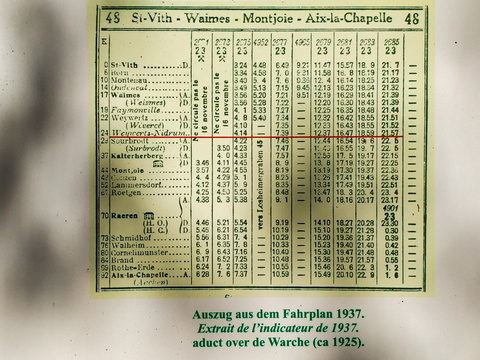 Old train timetable