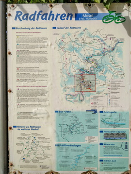 Local cycling routes information board