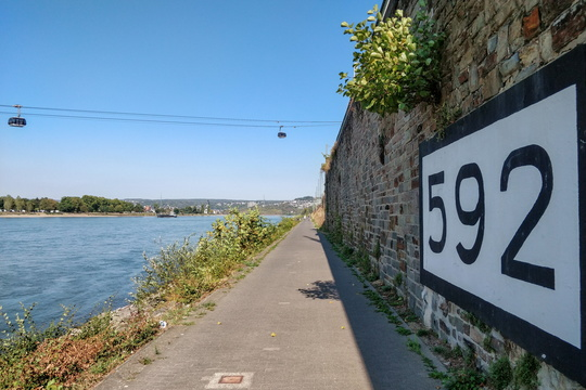 Kilometre 592 along the Rhine river