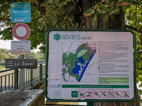 Sauer river delta information board