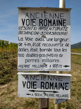 Old Roman road sign near Saint-Hippolyte
