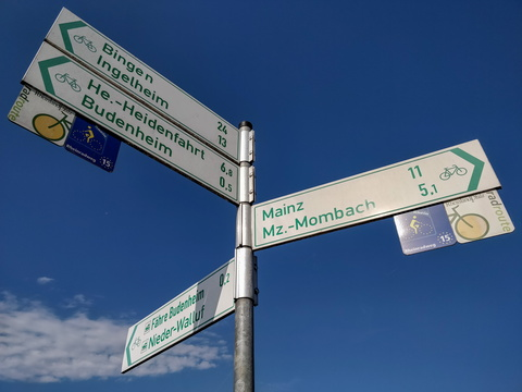 Cycling directions in Budenheim