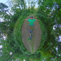 Bike selfie panorama in the forest