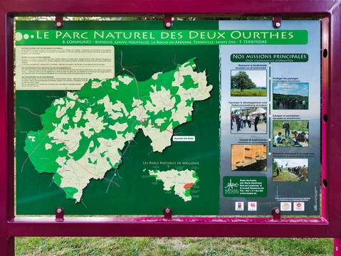 Parc Naturel des Deux Ourthes information board and map