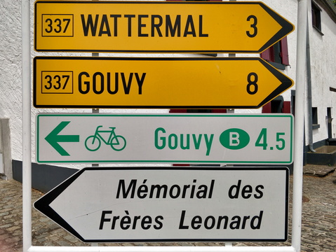 Distance to Gouvy is shorter by bike
