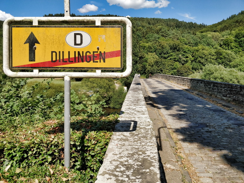 Luxembourg/Germany border in Dillingen