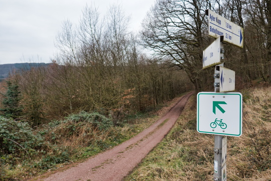 Cycling and hiking signs near Ayl