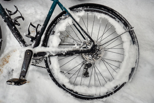 Bike on the snow or snow on the bike?