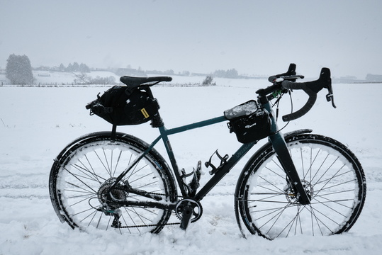So much snow that the bike did stand alone