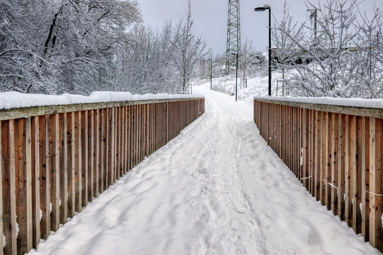 Merl to Helfent cycleway in the snow