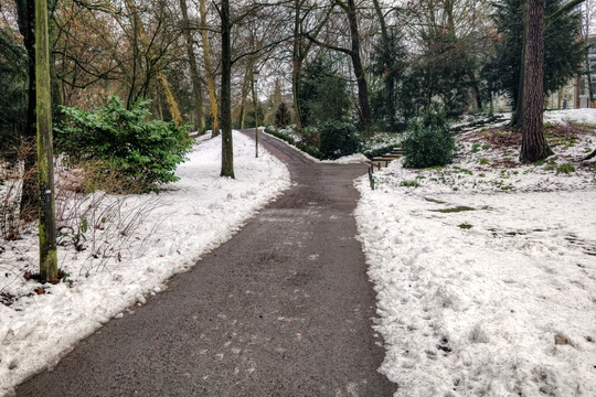 Remainings of snow in the park