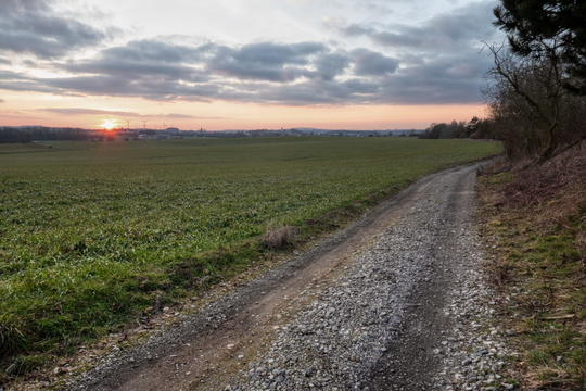"Sunset on a ""cycling route"" between Windhof and Hagen"