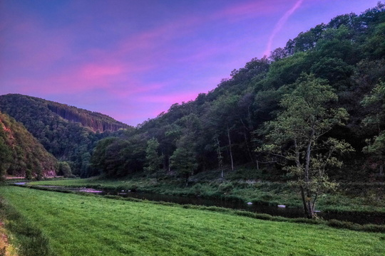 Twilight in Sauertal near Bourscheid