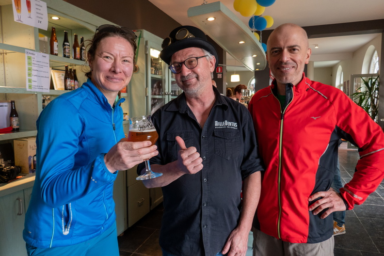 A beer (or five) after 115 km on the bike