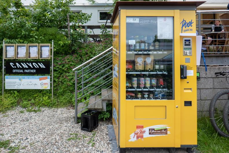Vending machine at Biergarten along the cycleway in Reinsfeld