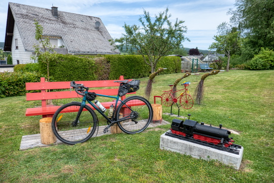 Bike, bench and train