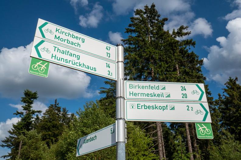 Hunsrück-Radweg cycling directions near Erbeskopf