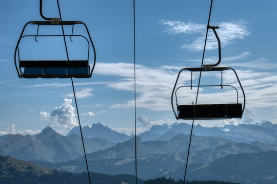 Empty chairlifts