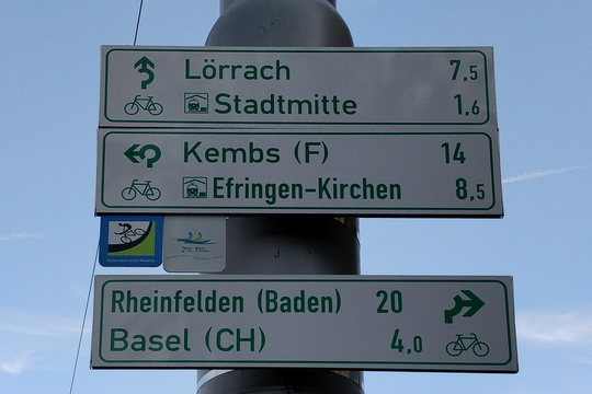 Cycling directions in Weil am Rhein