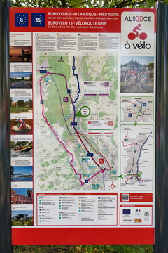The Rhine cycling route map and information board