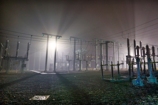 Power substation in the fog