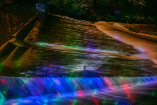 Light painting on the Alzette river
