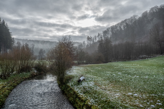 Mist is clearing over the Eisch river