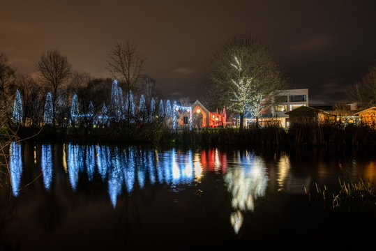 Christmas lights in Hesper Park