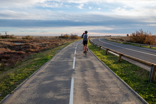 Cycling near Plage des Aresquiers, Frontignan