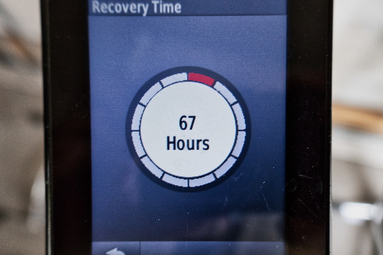 GPS recovery advisor after a fast ride back from work