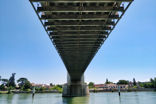 Bridge on the Rhone river in Andance