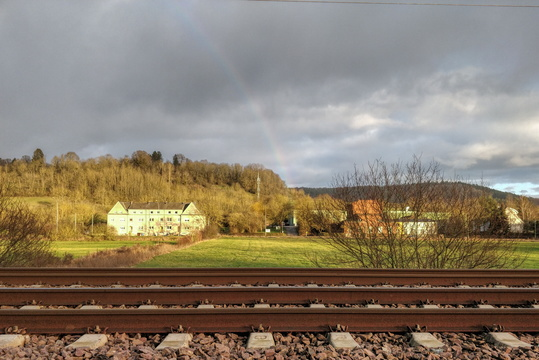 Rainbow behind the railroad