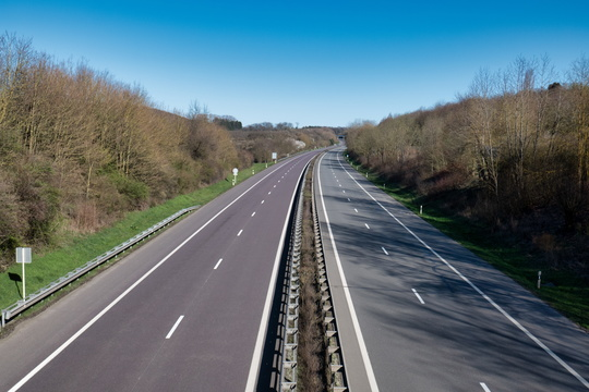 Empty motorway due to partial lockdown